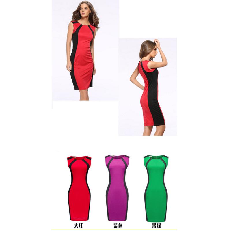 HTB1xdH5h5AKL1JjSZFoq6ygCFXat - 2018 Summer Women's Bodycon Patchwork Sleeveless Fashion Pencil Midi Sexy Casual Elegant Dresses Plus Size 3xl Tunic Dress