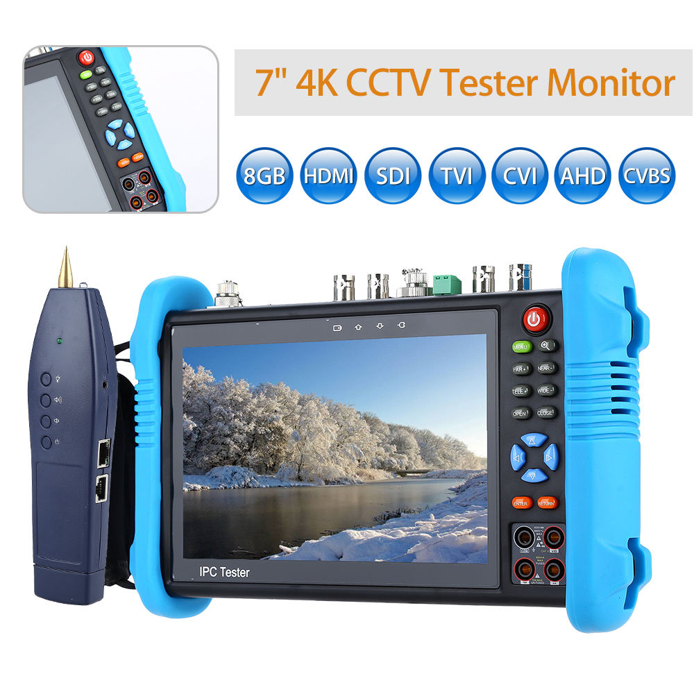SEESII 7 4K 8GB TVI CVI AHD HD SDI/EX-SDI Camera Multimeter PTZ POE Test CCTV IP Tester Monitor WIFI HDMI Video Onvif H.265 free shipping portable 3 5 lcd hd ahd cvi tvi sdi camera tester monitor cvbs test ptz control
