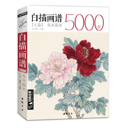 White Drawing Case 5000, Flower Birds Chinese Mustard Entry Book Classic Line Painting Textbook