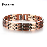 Mens Magnetic Health Bracelet Singapore Bronze Color Stainless Steel Wide Power Therapy Magnet Bracelets Bangles Male Jewelry
