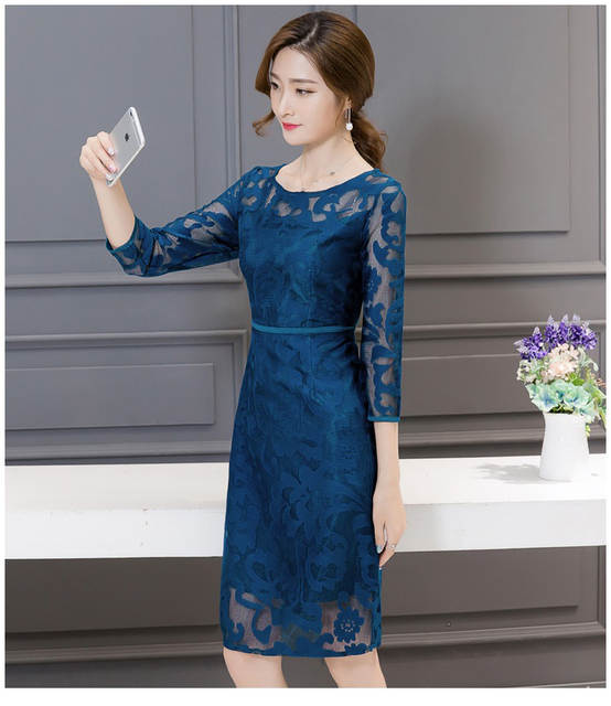 b145e97cd39 placeholder Women Elegant Dresses Summer Office Lady 3 4 Sleeve Mesh Hollow  Out Bodycon Short Lace