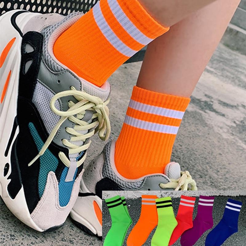Stylish Pure Color Classic Stripes Casual Neon Socks Women Harajuku Fluorescence Green Short Socks Winter Cotton Socks Unisex