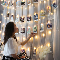Photo Hanging Clips String Light Photo Collage Display Led Twinkle Light with Clip Home Bedroom Wall Decoration for Picture Card