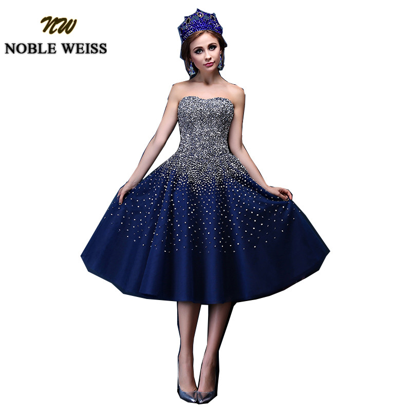 Navy Blue Short   Prom     Dress   2019 Sweetheart Tulle vestido de festa Stunning Beading Knee Length   Dress   for Party