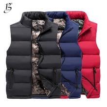 Зимние мужские жилеты, толстые, теплые, модные, черные, размера плюс 6XL 7XL 8XL, спортивная одежда, хипстерские зимние жилеты, жилет на молнии, черные, свободные, MJ01