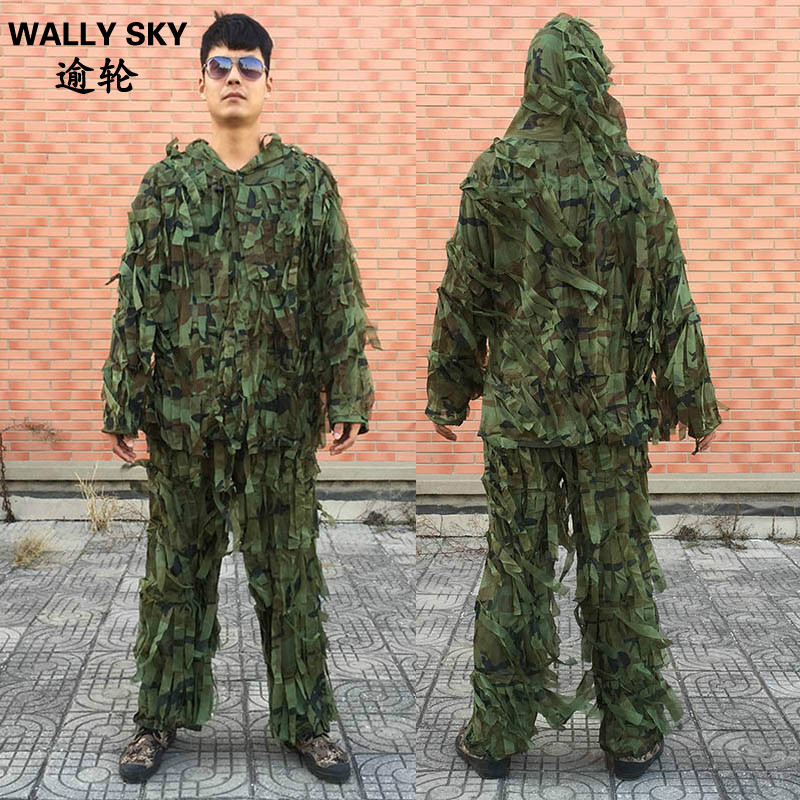 Sniper Jungle Desert Ghillie Suit Lightweight Cloth Strip Hunting Clothes 2PCS Military Camouflage Hunting Suit Bird-Watching cs camouflage suits set bionic disguise uniform hunting woodland sniper ghillie suit hunting jungle military train cloth s049