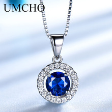 UMCHO 925 Sterling Silver Jewelry Created Round Blue Sapphire Necklace For Women Wedding Gift With Box Chain Brand Fine Jewelry
