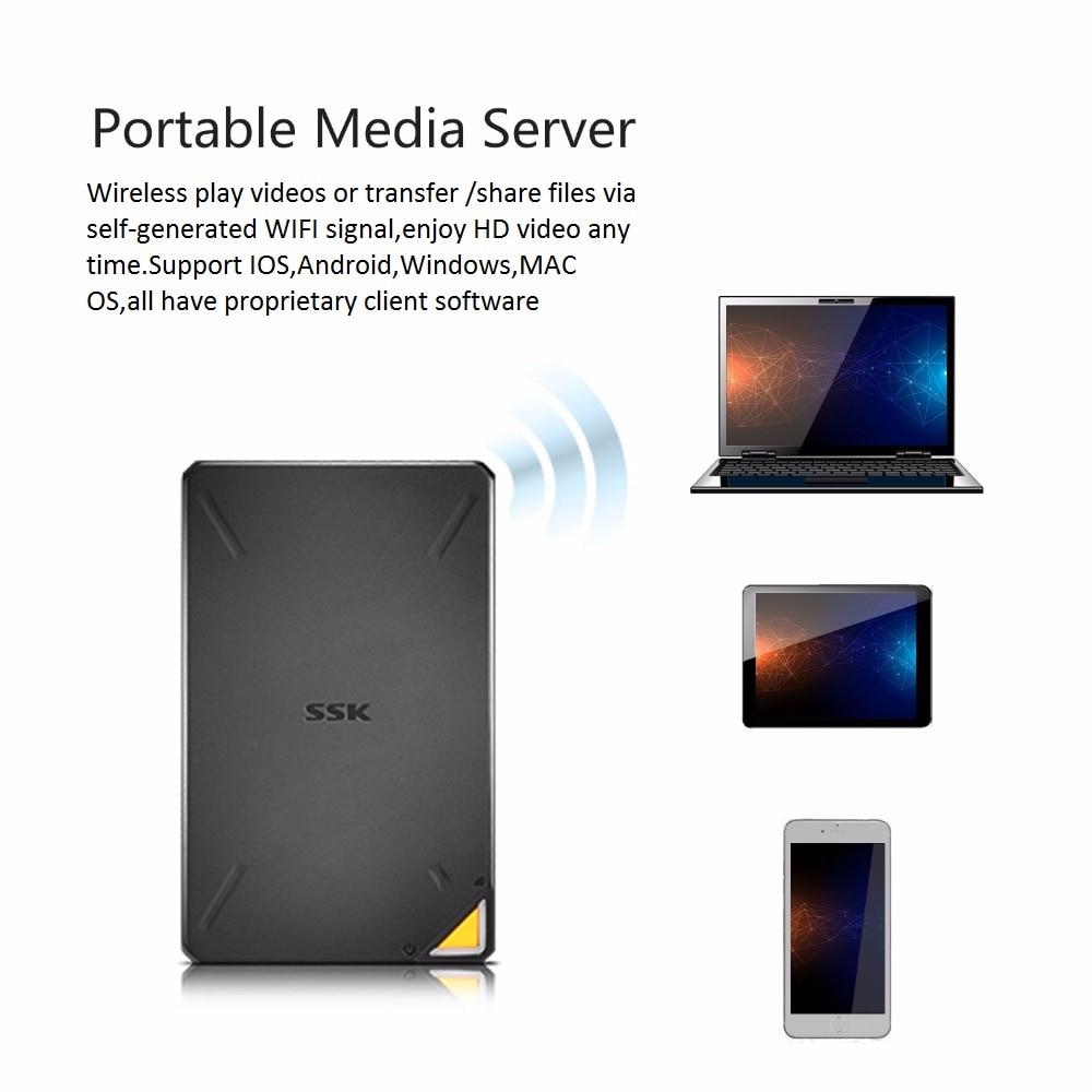 SSK Portable sans fil disque dur externe dur Hisk disque dur intelligent 1 to 2 to Cloud Storage 2.4GHz WiFi accès à distance boîtier HDD - 3