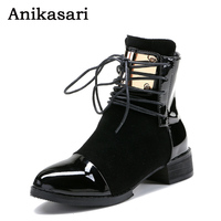 Women Boots Plus Size 35 43 Genuine Leather Autumn Winter Ankle Boots Black Wine Red Shoes