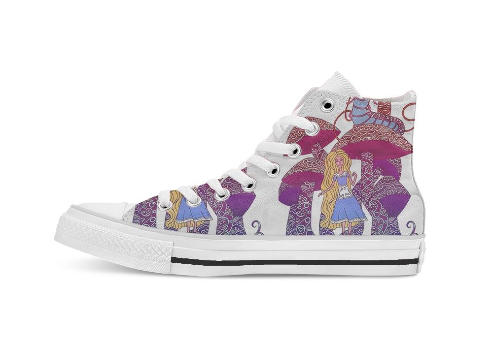 Алиса и курение кальяна Caterpillar новизна дизайна высокие холщовые нестандартная обувь без каблука повседневная обувь Прямая доставка