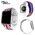 DMY 2016 HOT Silicone sport strap Buckle watch band with Flag of USA Flag of UK Rainbow watchband for Apple watch 38mm/42mm
