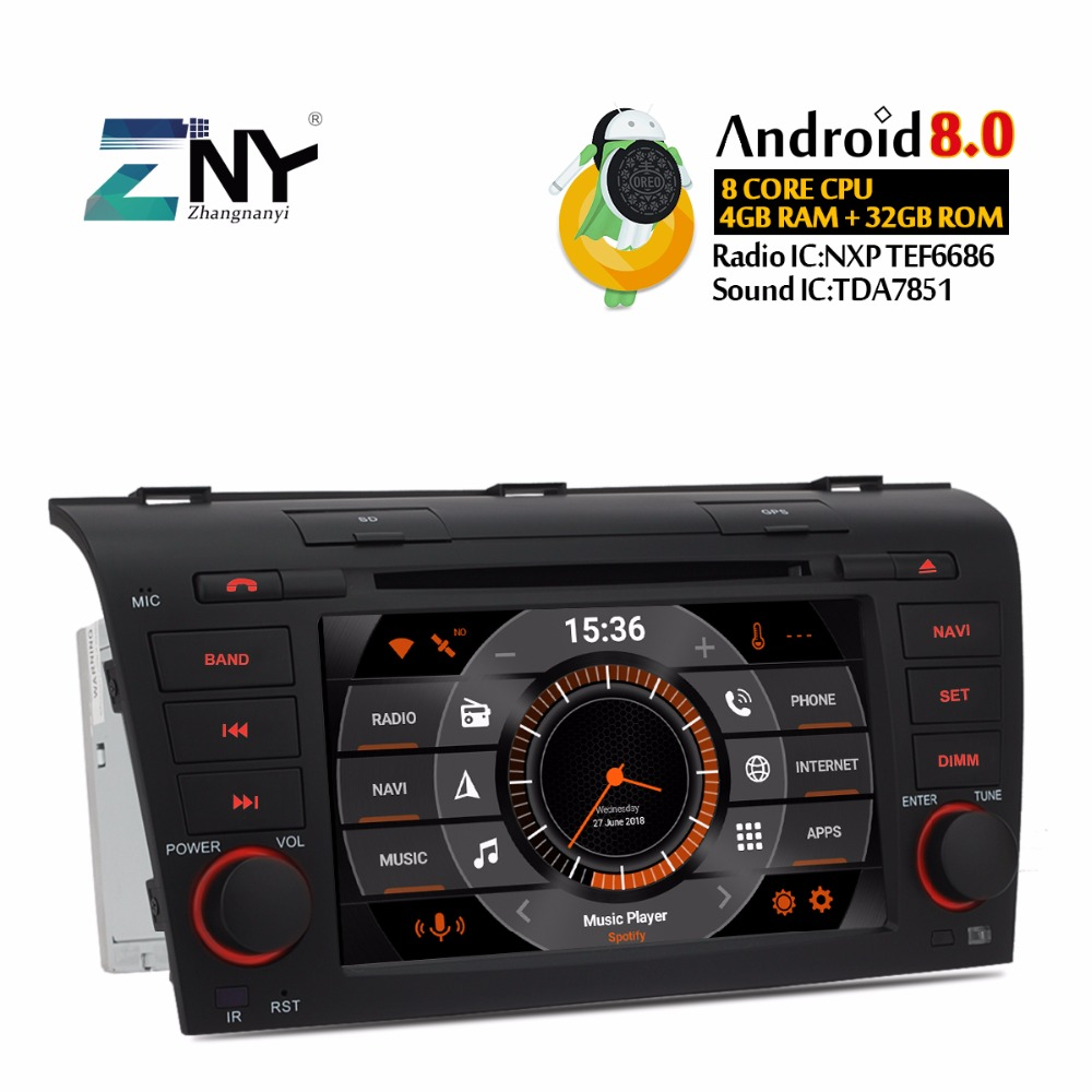 4GB RAM 7 Android 8.0 Car DVD For Mazda 3 2004 2005 2006 2007 2008 2009 Auto Radio 8 Core CPU GPS Navigation Free Backup Camera 7 touch screen car dvd stereo player for mazda3 mazda 3 2004 2005 2006 2007 2008 2009 bluetooth radio gps navigation system