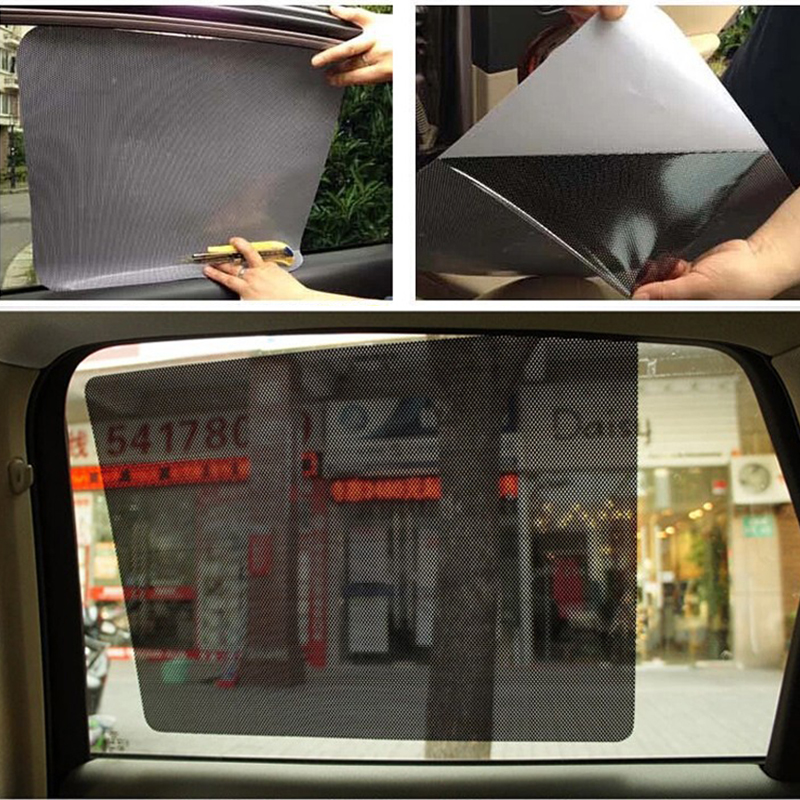 2PCS 38*42CM Black Window Auto Car Sun Shade Curtain PVC Protection Side Insulation Window Cover Tint Film Car Stickers C3bX019