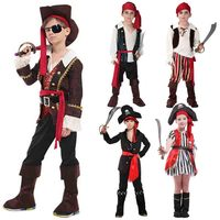 Kids Caribbean Pirates Costume Deluxe Captain Pirate Role Play Fancy Dress Seas Buccaneer Boys Girls Toddlers