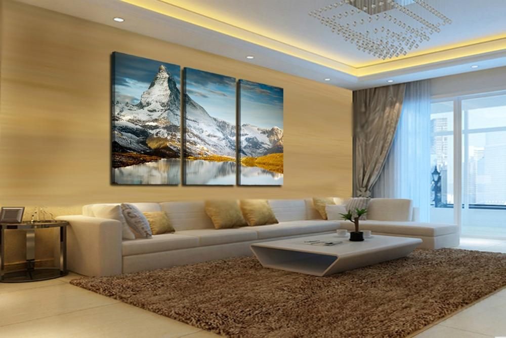 3 Panneaux Vente Chaude Neige Montagne De La Maison Moderne