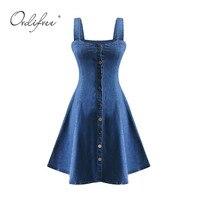 Ordifree 2018 Summer Women Denim Dress Short Sundress Overalls Mini A Line Dress Blue Elegant Lady Swing Jeans Dress