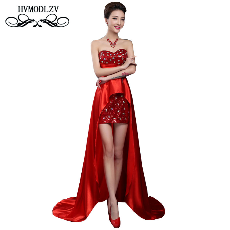 2017After Short Before Long Summer Dress Ladies Party Red Long Dress Wedding Bride Toast dress Bra Belly Noble Vestidos ls182