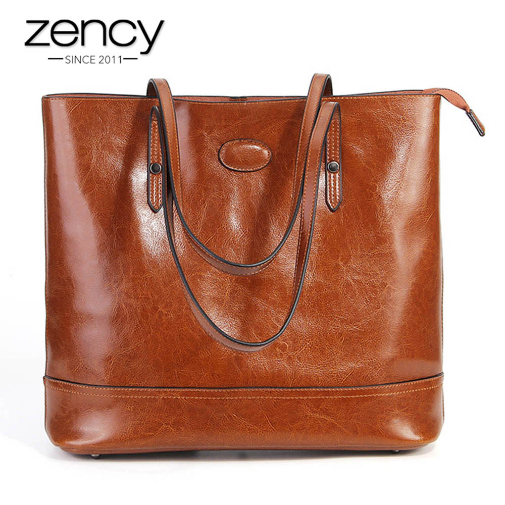 Zency 100% Genuine Leather Fashion Brown Women Shoulder Bag Large Capacity Shopping Bags Black Tote Handbag High Quality Purses
