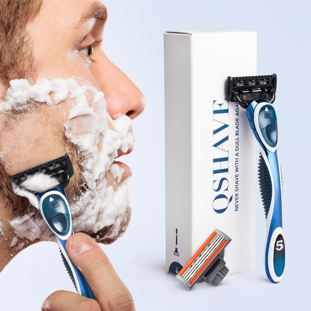 QShave Blue Men Manual Shaving Trimmer Blade Razor it can provide QSHAVE Name Engraved Service (1pc X3 Blade, 1pc X5 Blade)