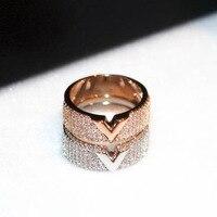 2017 יוקרה חדשה צבע זהב V מכתב טבעות לנשים anillos טבעת נישואים מעוקב zirconia מפלגה טבעת מדהים באיכות גבוהה mujer