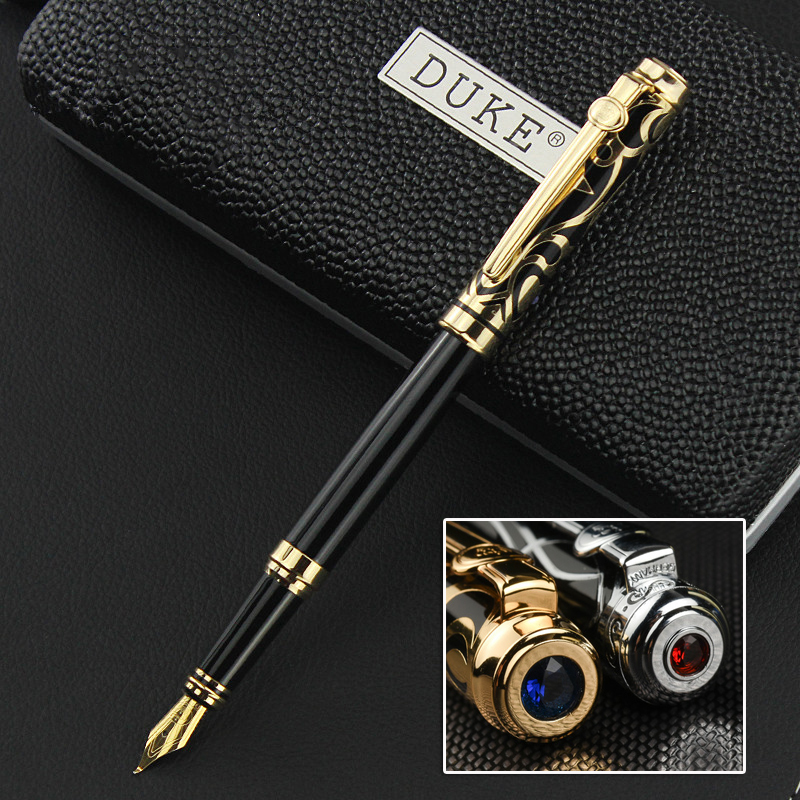 DUKE Iraurita Fountain Pen 0.5mm/1.0mm Ink Pen Full Metal With Gem  Caneta Stationery With Original Box For Gift 1042