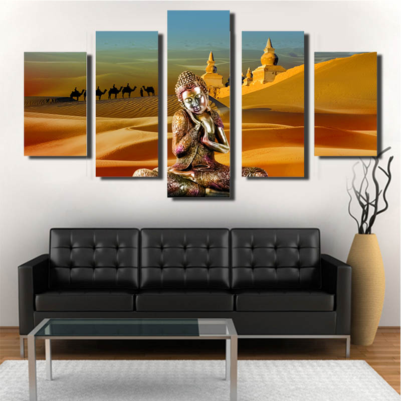 Unique Living Room Decor: 5 Piece Religion Buddha Picture Wall Canvas Art For Living
