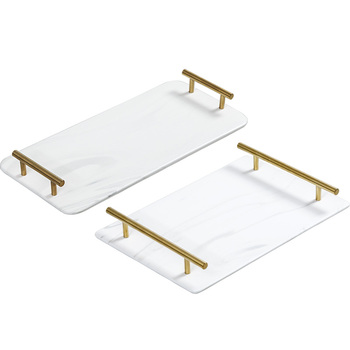 Luxury Marbled Rectangular Ceramic Tray Home Tea Tray Wash Tray Classic Marble Gold Handle