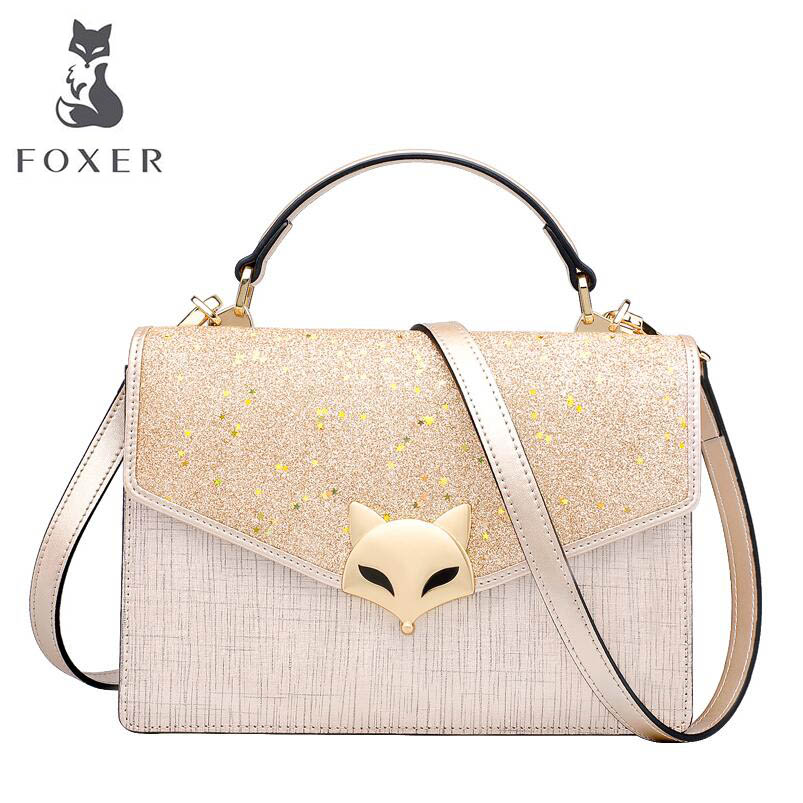 FOXER brand bags for women 2018 new women leather bag fashion luxury small bag designer women leather handbags shoulder bag new fashion embroidered handbags hit color leather woman bag animal motifs women s shoulder bag cheap luxury brand designer bag