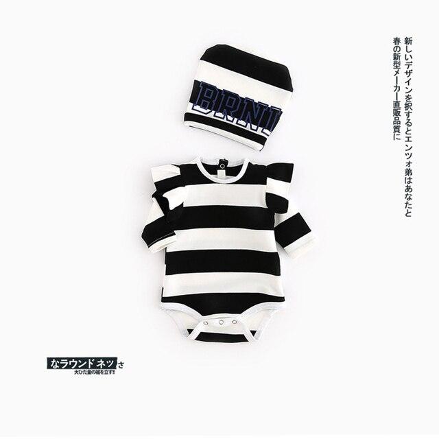 INS Baby Stripe Bodysuit Newborn Cotton Fashion Jumpsuits Boys Girls Spring Autumn Cute Climbing Clothes Black Red Color