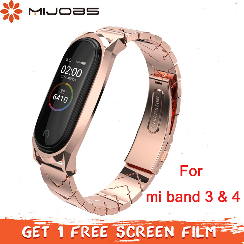 Mijobs Mi band 4 Strap Metal Stainless Steel Bracelet for Xiaomi Mi Band 4 Mi Band 3 Strap Smart Watch correa Miband 4 Wristband(China)