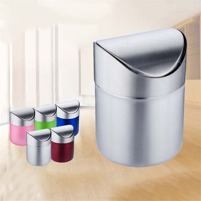 Online Shop Stainless Steel Desktop Trash Bin Home Office Trash Can