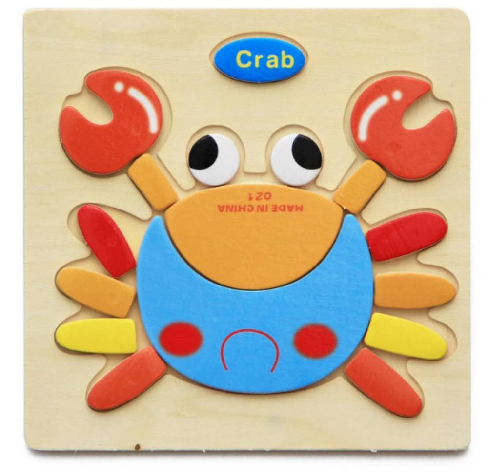 3D деревянные головоломки, игрушки для детей, Деревянные 3d Мультяшные головоломки с животными, интеллектуальные детские развивающие игрушки для детей - Цвет: Коричневый