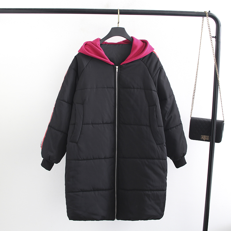 Fat Cotton Women 2019 Autumn Winter New Parkers Loose Long Section Plus Fertilizer Thick Cotton Jacket Winter Jacket Cotton Coat