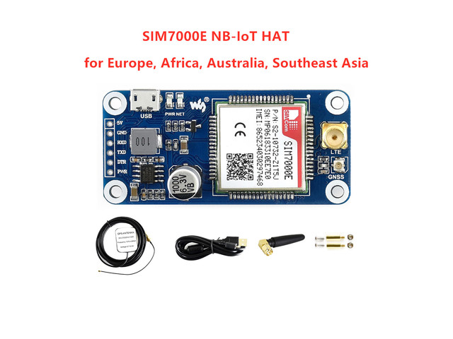 Waveshare NB IoT/eMTC/EDGE/GPRS/GNSS HAT for RPi Zero/Zero W/Zero WH/2B/3B/3B+, Based on SIM7000E,Supports TCP,UDP,PPP,HTTP,Mail