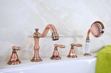 цена на Antique Red Copper Bathroom Tub Mixer Faucet Set Deck Mounted with Handshower 3 Handles Widespread Bathtub Taps Ntf229
