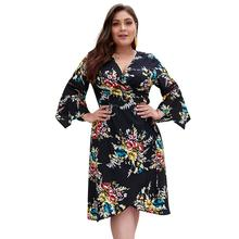 Women Ladies Plus Size Holiday Summer Beach V Neck Floral Print 3/4 Flared Sleeve Mini Short Dress Swing Sundress long sleeve elk print christmas mini swing dress