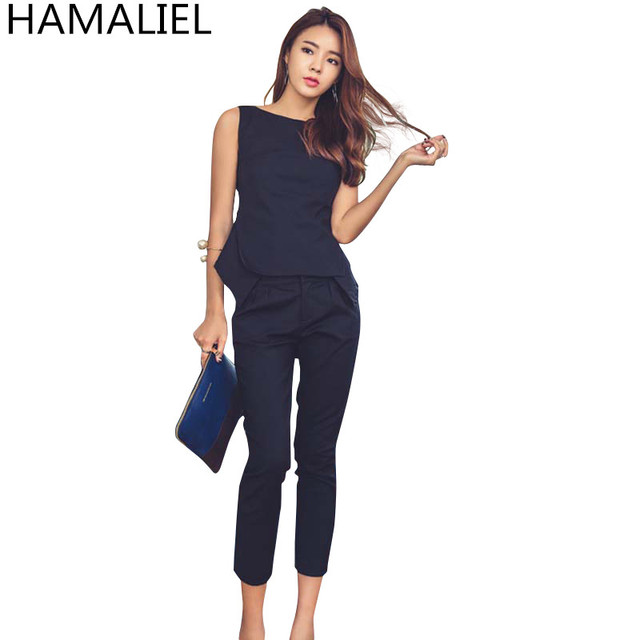 High Quality Summer Women Formal 2 Piece Pant Suit 2018 Fashion Solid Sleeveless OL Blouse Top + Slim Work Calf Length Pants Set