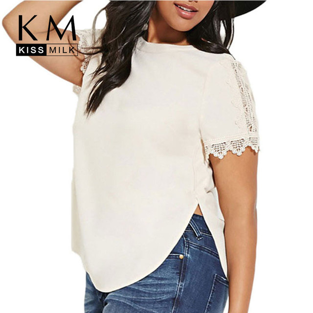 Kissmilk 2017 Women Plus Size Split Embroidered Big Large Size 3XL 4XL 5XL 6XL Solid Loose Casual White T-shirt