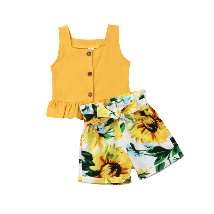 US Toddler Kids Baby Girl Summer Ruffle Dress Tops Floral Short Pants Outfit Set