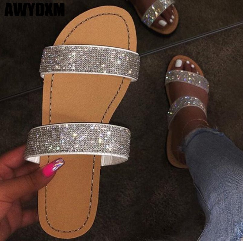 Fashion Women Slippers Summer Crystal Hollow Flat Slide Ladies Open Toe Comfort Slip On Outdoor Beach Sandals Woman Shoes S627