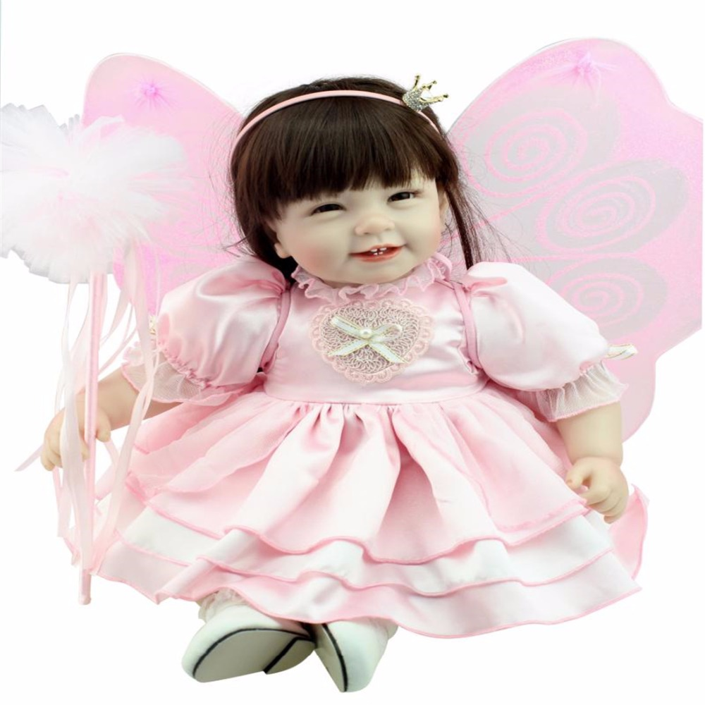 22inch 55cm Silicone baby reborn dolls, lifelike doll reborn babies toys for girl pink princess gift brinquedos  Children's toys