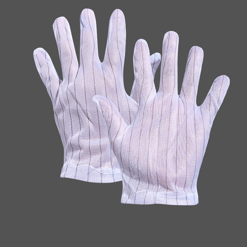 10Pair Manufacturer Anti-Static Gloves Double-Sided Five Fingers Striped Electrostatic Gloves White Electronic Factory Dust-Free