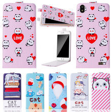Fashion Cartoon vertical up and down Stand Flip PU Leather Cover Plastic Back With Card Holders For Prestigio Wize Q3 Case(China)