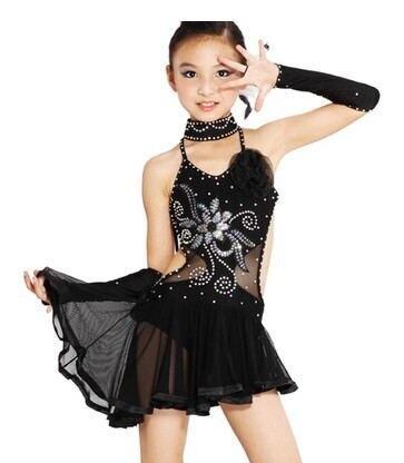 2017 nové dětské latinské taneční šaty pro flitrový styl Rumba Samba Taneční sál Tango Taneční oblečení Děti Taneční kostým Dívky Taneční oblečení