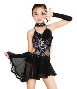 2017 new Child Latin Dance Dresses For sequin style Rumba Samba Ballroom Tango Dance Clothing Kids Dance Costume Girls Dancewear