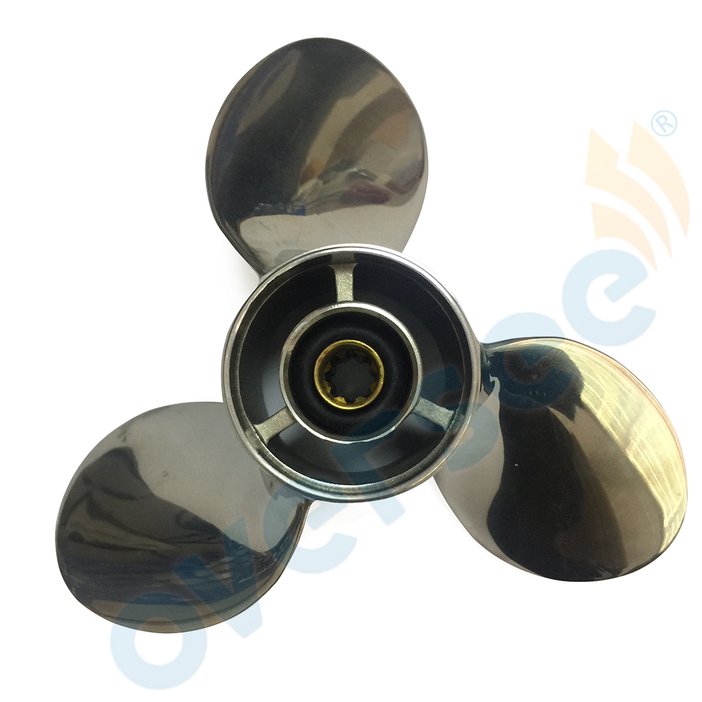 Fit Yamaha 63V-45943-10-SS 9.9 hp 15 hp, PROPELLER (3X9-1/4X11-J), Outboard Engine Motors boat motor stainless steel propeller 9 1 4x11 j for yamaha 9 9hp 15hp outboard engine 9 1 4 x 11 j 63v 45943 10 00 63v 45943 00