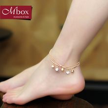 Mbox Anklet female models Korean version of simple small fresh bell design fashion rose gold Anklet little dew