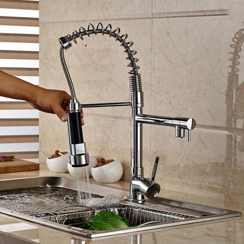 Brushed Nickel / Chrome Kitchen Faucet Double Sprayer Vessel Sink Mixer Tap  Deck Mounted Single Hole Faucet In Kitchen Faucets From Home Improvement On  ...