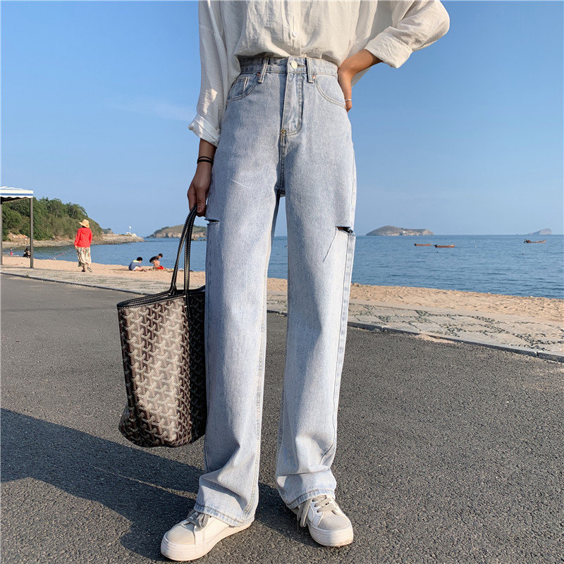 HziriP Hot Selling Straight Chic Thin High Waist Slender All Match Women New Blue Loose Denim Female Korea Jeans Washed Pants