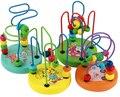 Дети малыш красочные деревянные мини вокруг бусины провода лабиринт образовательные игрушки